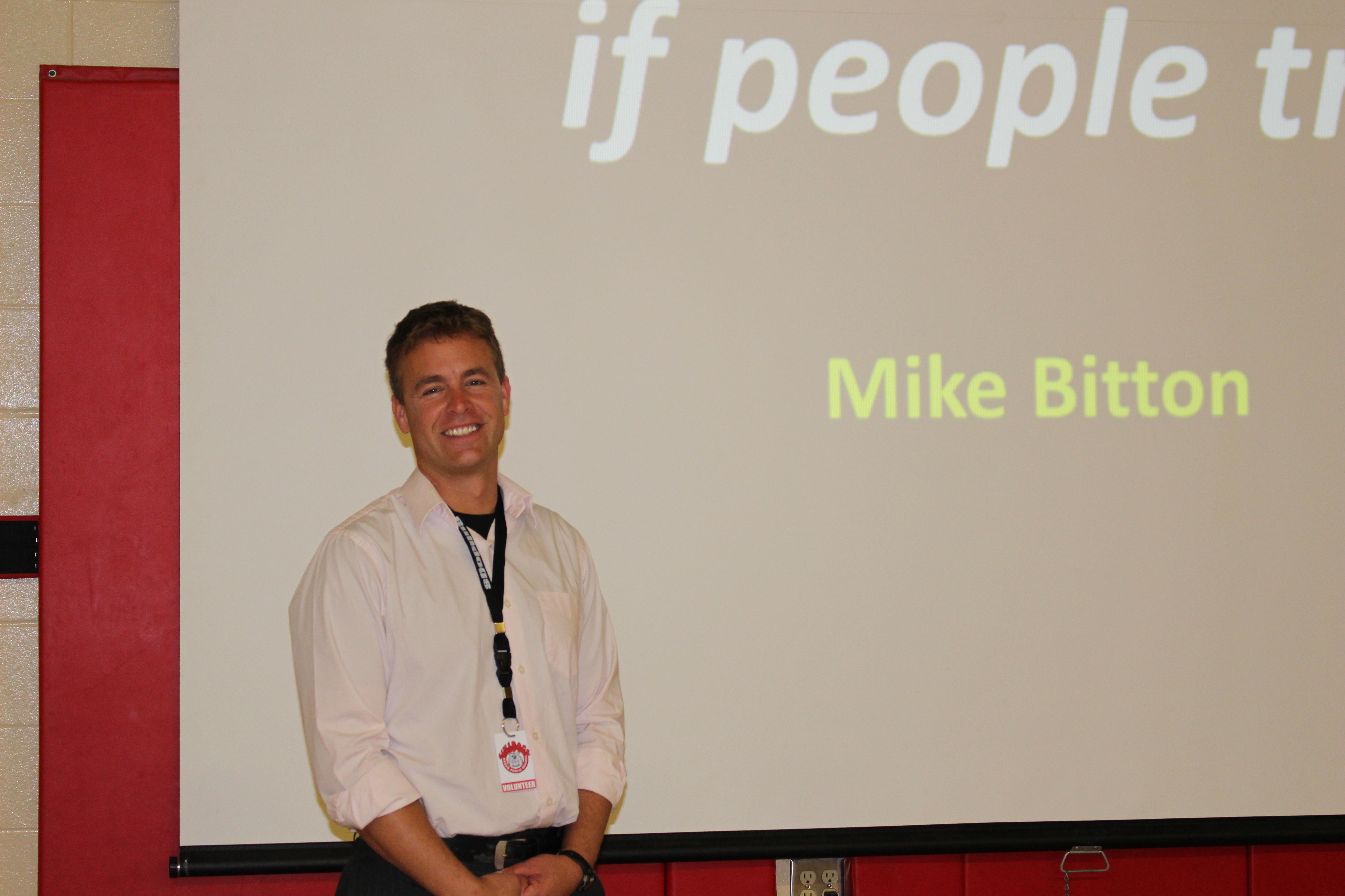 Mike posing after a presentation.